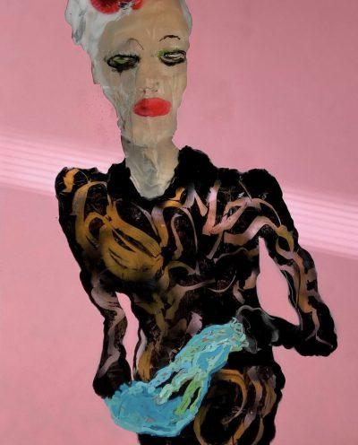 Marguerite In Her Final Choice, 170x130, oil on plexiglass, 2021